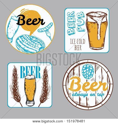 Beer label set in different shapes with ice cold beer and beer always on top descriptions vector illustration