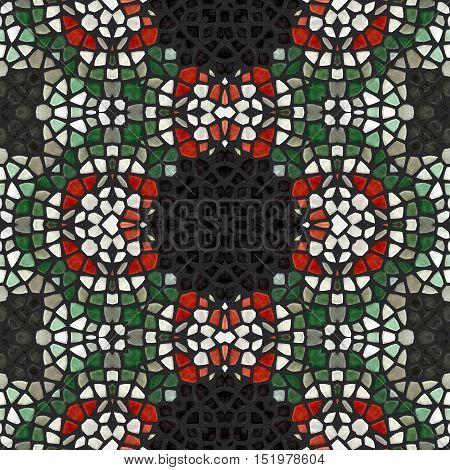 New seamless texture of abstract fabric. Kaleidoscopic wallpaper tiles. Oriental pattern.  Green Jigsaw from glass shards.