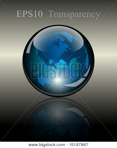 3d crystal globe. World map inside. Vector illustration