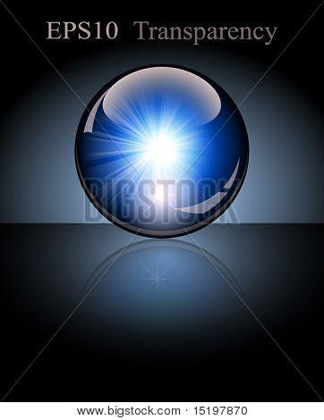 3d crystal globe. Lightning inside. Vector illustration