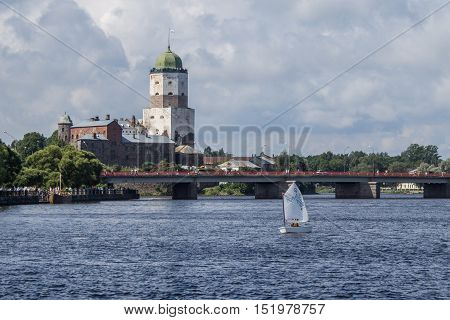 View of the medieval Vyborg castle from the side of the Gulf of Vyborg