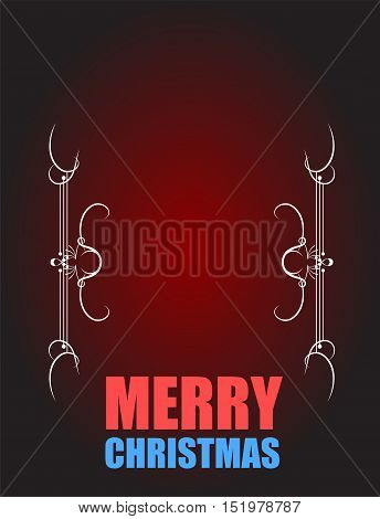 Merry Christmas. Vintage Christmas Card on dark red with accents