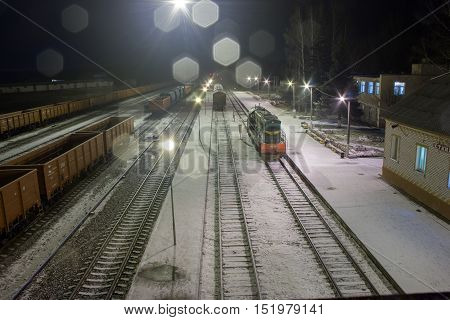 The Train Arrives On The Railway Station.
