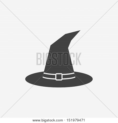 Tall witch hat monochrome icon on white background. Vector illustration.