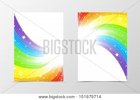 Rainbow flyer template design. Abstract flyer template in rainbow color with white stars. Spectrum flyer design. Vector illustration