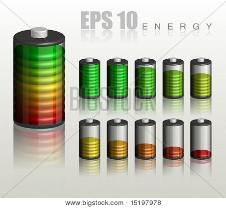 Battery. Ten different status of charge - vector illustration
