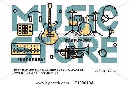 Music Store Equipment Idea Minimalistic Contemporary Flat Cool Line Art Website Cover Image. Website Header. Web Banner. Vector Design.