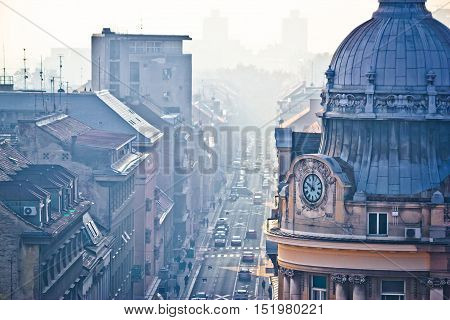 Busy Zagreb street in morning haze with old arcchitecture aerial vie capital of Croatia