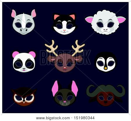 Halloween mask of 9 different animal species set 1