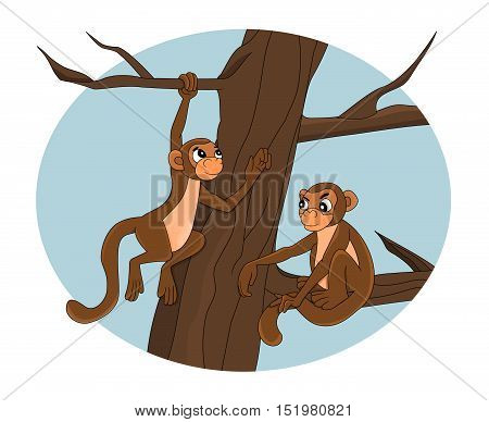 Illustration of a monkey climbing a tree and another on sitting on a branch isolated on a white background