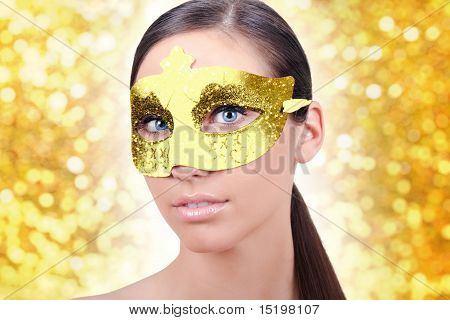 Girl With Carnival Gold Mask