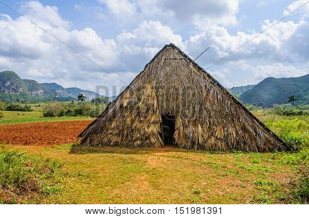 Small hut in the Vinales Valley in Cuba