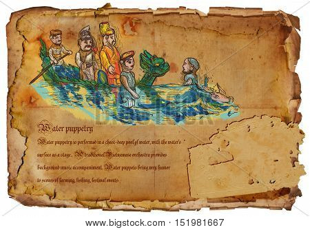 An hand drawn illustration travel - Vietnam. Water Puppetry. Hand drawing picture on old aged paper.