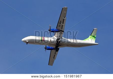 Stockholm, Sweden - May 3, 2016: Braathens Regional ATR 72-500 (SE-MDH) during approach to Stockholm Bromma airport against blue sky.