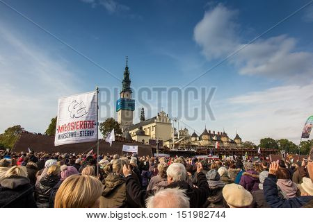 Czestochowa Poland - October 15 2016: United Atonement all-day prayer meeting people from all over Polish who repented of his sins and his compatriots before the top Jasna Gora.