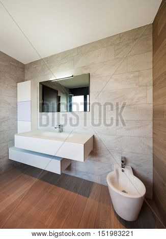Architecture, modern bathroom of a new apartment