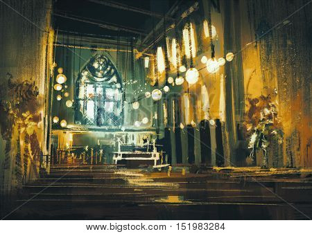 interior view of a church and dramatic light, illustration painting