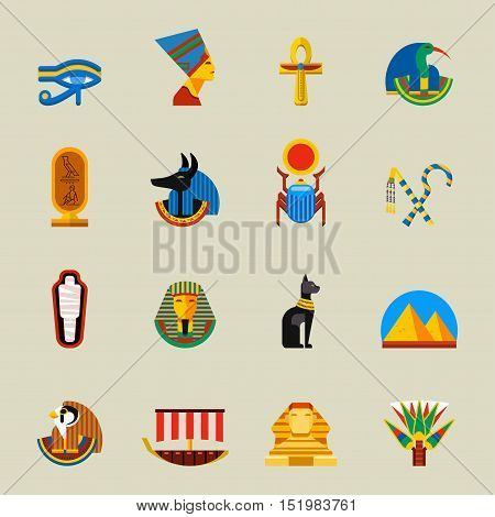 Set of vector flat design egypt travel icons and infographics elements. History africa pyramid sign egypt icons collection scarab silhouette.