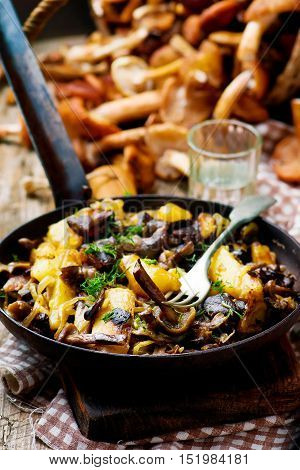 fried potato with mushrooms in a vintage frying pan. style rustic. selective focus