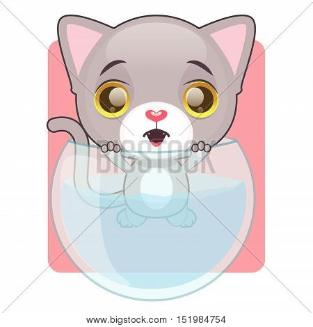 Cute Gray Cat Stuck In A Fish Bowl