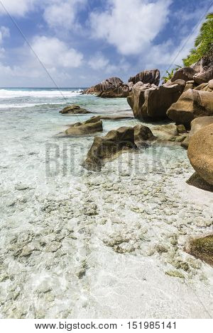 Shallow Water In La Digue, Seychelles