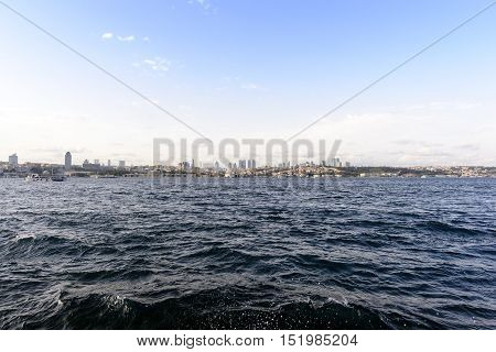 Istanbul city view and bosphorus in sunny day