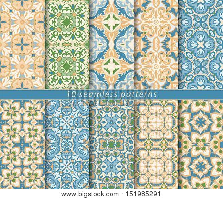 Vector set of ten seamless blue floral patterns. Decorative and design elements for textile, book covers, manufacturing, wallpapers, print, gift wrap.