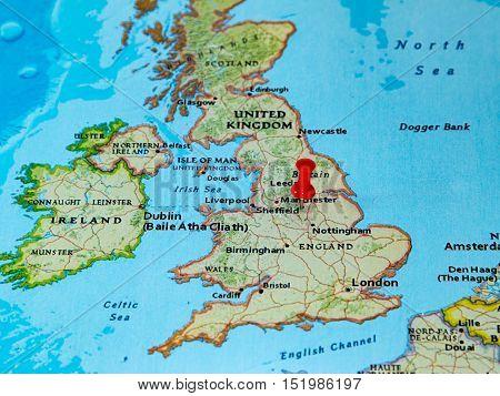 Sheffield, U.k.  Pinned On A Map Of Europe