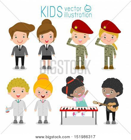 set of cute professions for kids isolated on white background ,scientist, musician, businessman,soldier, Professions icon set, Children's dream jobs, Happy children in work wear. Vector Illustration