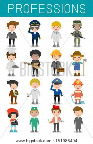 big set of cartoon vector characters of different professions isolated on white background, professions for kids, children profession, different people professions characters set, kids professions