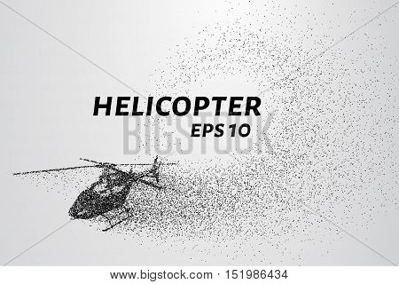 The helicopter of the particles. The helicopter breaks down into small molecules. Vector illustration