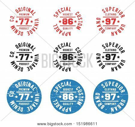 Set of color vintage circle stamp. T-shirt print design. Printing and badge applique label t-shirts, jeans, casual wear. Vector illustration.