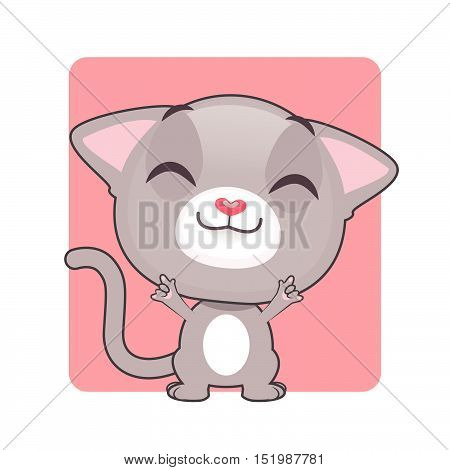Cute gray cat posing by showing dual devil horn hand gesture