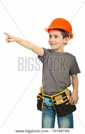 Kid Boy With Helmet Pointing Away