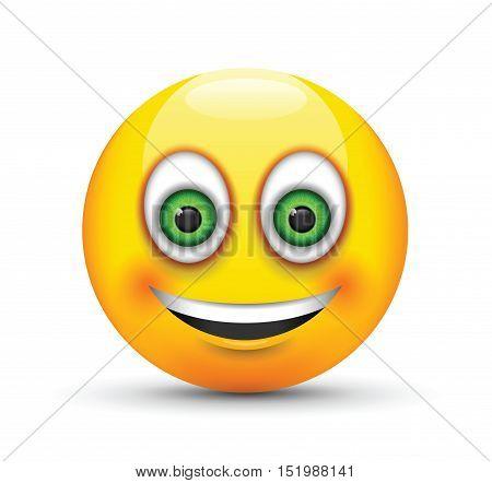 a smiling emoji big realistic green eyes