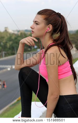Girl Is Preparing To Sporting Exercises