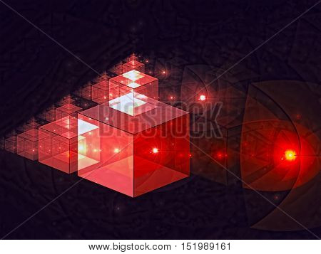 Abstract tech background - computer-generated image. Fractal geometry: glassy translucent cubes with light effects. Digital art for covers, desctor wallpaper, web design.