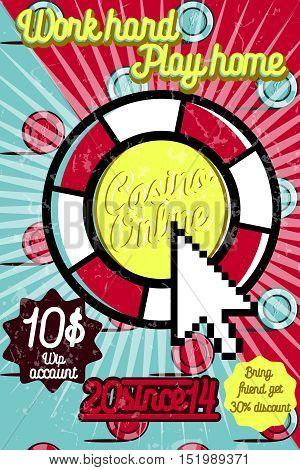 Color vintage online casino poster. Vector illustration, EPS 10