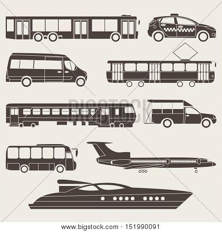 Vector flat illustration of silhouette public transport
