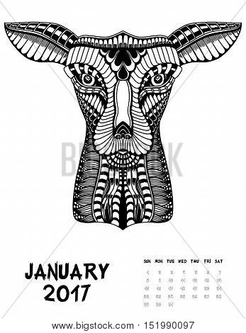 January, 2017 calendar. Line Art Black and white Illustration. Deer. Print anti-stress coloring page.