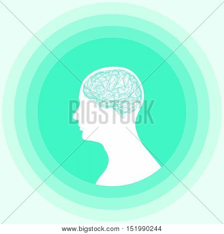 Silhouette of the human head with brain. Low poly human brain. Vector illustration