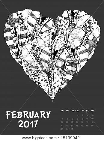 January, 2017 calendar. Line Art Black and white Illustration. Hearts of clothes. Print anti-stress coloring page.