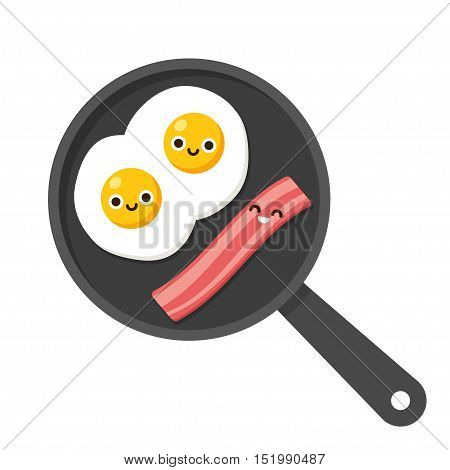 Traditional breakfast food illustration fried eggs with bacon on frying pan. Cute cartoon smiling faces.