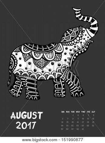 April 2017 calendar Zendoodle style. Elephant. Patterned zentangle, black and white. For Print anti-stress coloring books for different ages peoples.