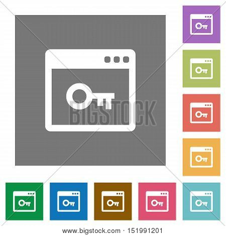 Application lock flat icon set on color square background.