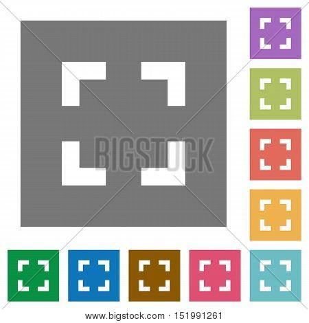 Selector tool flat icon set on color square background.