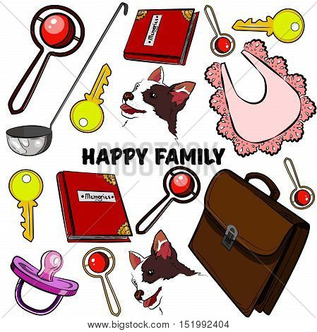 Hand drawn set with happy families. Home, children, happiness, parents, sun love stroller baby