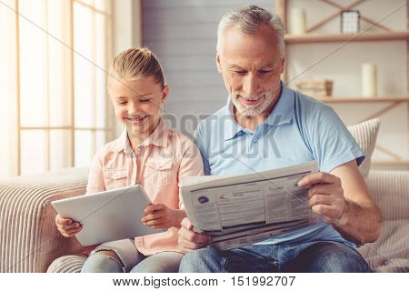 Grandpa And Little Girl At Home