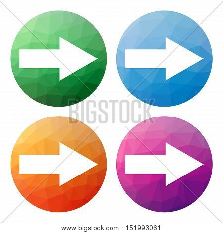 Set  Of 4 Isolated Modern Low Polygonal Buttons - Icons - For Arrow Pointing Right