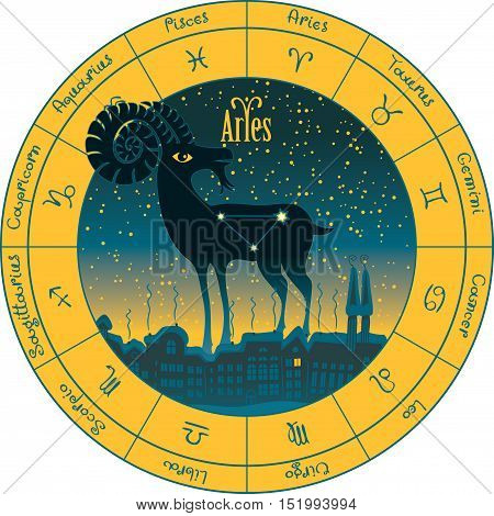 Aries on the background urban night landscape and the starry sky in circle with the signs of the zodiac